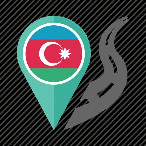 azerbaijan, country, flag, location, nation, navigation, pin icon