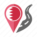 bahrain, pin, country, nation, flag, location, navigation