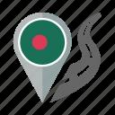 bangladesh, pin, country, nation, flag, location, navigation