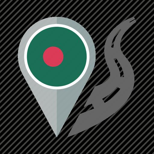 bangladesh, country, flag, location, nation, navigation, pin icon