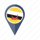 brunei, country, flag, location, nation, navigation, pin icon