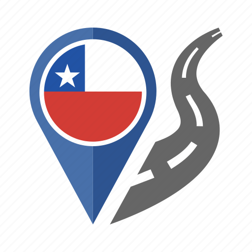 chile, country, flag, location, nation, navigation, pin icon
