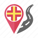 country, flag, guernsey, location, nation, navigation, pin icon