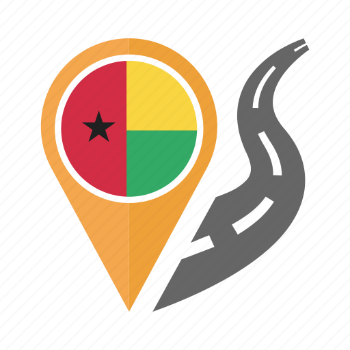 country, flag, guinea bissau, location, nation, navigation, pin icon