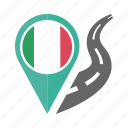 country, flag, italyl, location, nation, navigation, pin icon