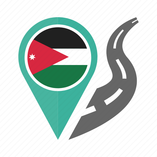 country, flag, jordan, location, nation, navigation, pin icon