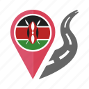 country, flag, kenya, location, nation, navigation, pin icon