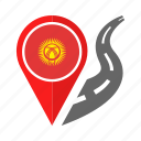 country, flag, kyrgyzstan, location, nation, navigation, pin icon