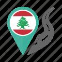 country, flag, lebanon, location, nation, navigation, pin