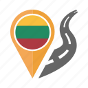 country, flag, lithuania, location, nation, navigation, pin icon
