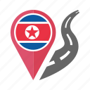 pin, country, nation, north korea, flag, location, navigation