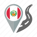 country, flag, location, nation, navigation, peru, pin icon