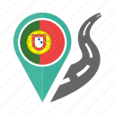 country, flag, location, nation, navigation, pin, portugal icon