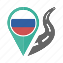 country, flag, location, nation, navigation, pin, russia icon