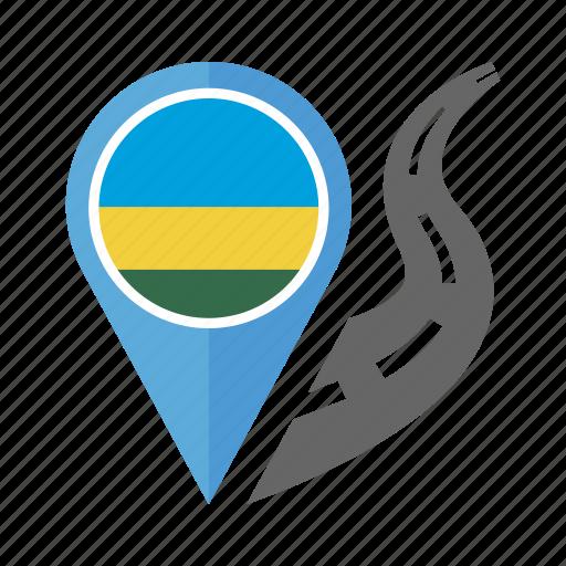country, flag, location, nation, navigation, pin, rwanda icon
