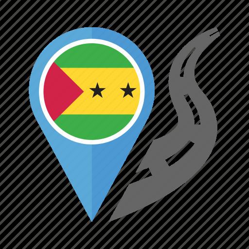 country, flag, location, nation, navigation, pin, sao tome and principe icon