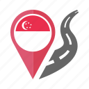 pin, singapore, country, nation, flag, location, navigation