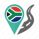 country, flag, location, nation, navigation, pin, south africa icon