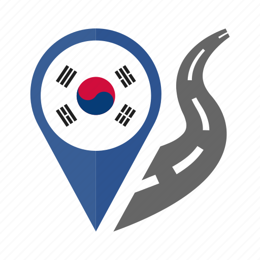 country, flag, location, nation, navigation, pin, south korea icon