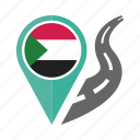 country, flag, location, nation, navigation, pin, sudan