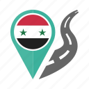 country, flag, location, nation, navigation, pin, syria icon
