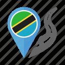 country, flag, location, nation, navigation, pin, tanzania icon