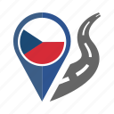 country, flag, location, nation, navigation, pin, the czech republic icon