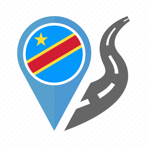 country, flag, location, nation, navigation, pin, the democratic republic of the congo icon