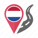 country, flag, location, nation, navigation, pin, the netherlands icon