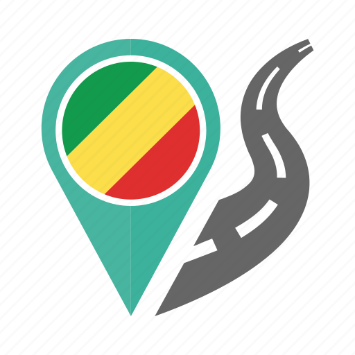 country, flag, location, nation, navigation, pin, the republic of the congo icon
