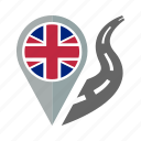 country, flag, location, nation, navigation, pin, the united kingdom icon