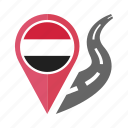 pin, country, nation, flag, location, yemen, navigation