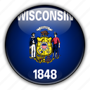 america, north, states, united, wisconsin icon