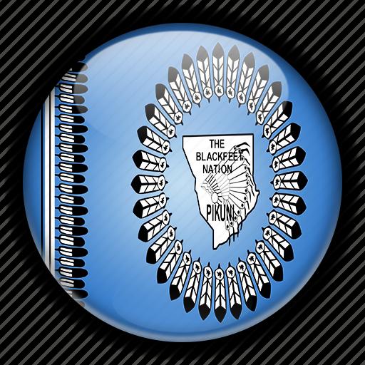 america, blackfeet, native, north, states, united icon