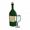 alcohol, bottle, drink, glass, red, wine icon