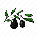 branch, food, olive, plant icon