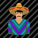 man, mexican, mexico, sightseeing, sombrero, travel icon