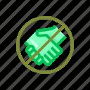 coronavirus, handshake, prohibited, virus icon