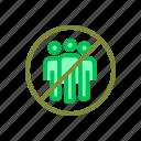 coronavirus, crowds, group, prohibited icon