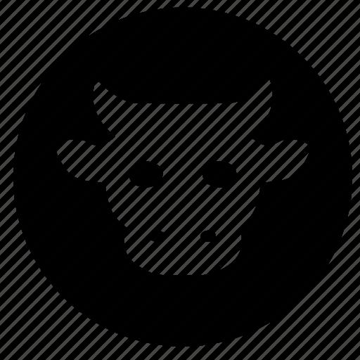 avatar, cow, label, round, skin icon