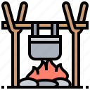 bonfire, camping, cooking, outdoor, warm