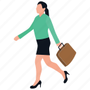 female employee, female entrepreneur, female staff, office girl, worker, working woman icon