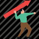 customer target, employee target, man holding arrow, staff target, target person icon