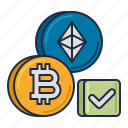 accept, bitcoin, crypto, cryptocurrency, currency, diamond icon