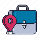 address, briefcase, business, location, pin