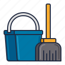 bucket, cleaning, daily, housekeeping, mop icon