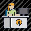 desk, front, girl, information, service