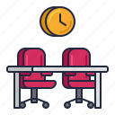 chairs, clock, desk, hot, temp icon