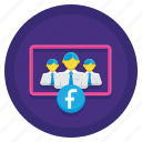 coworking, facebook, group, team icon