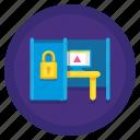 coworking, lock, private, suite icon